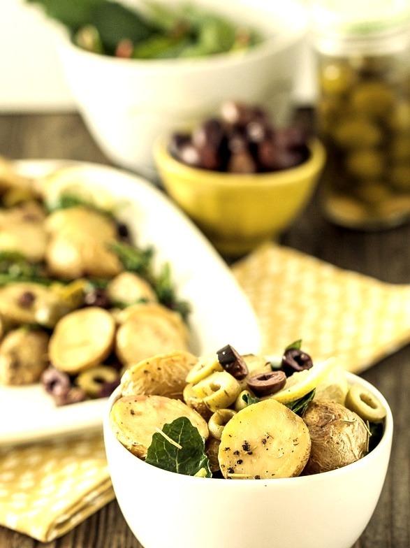 warm lemon olive potato salad