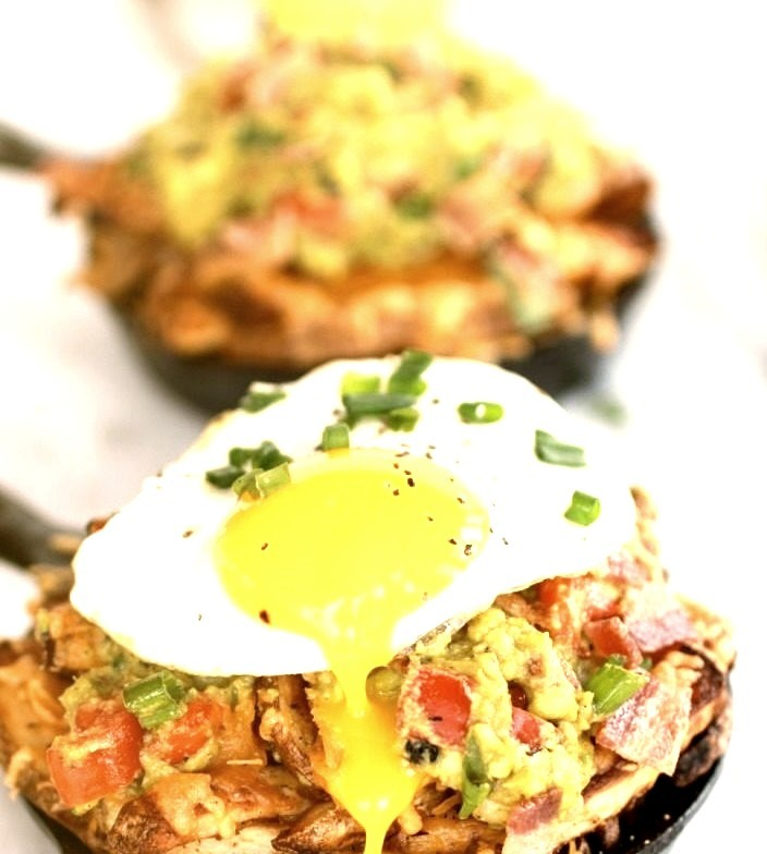 Cheesy Cajun Fries with Guacamole, Bacon, and Fried Eggs