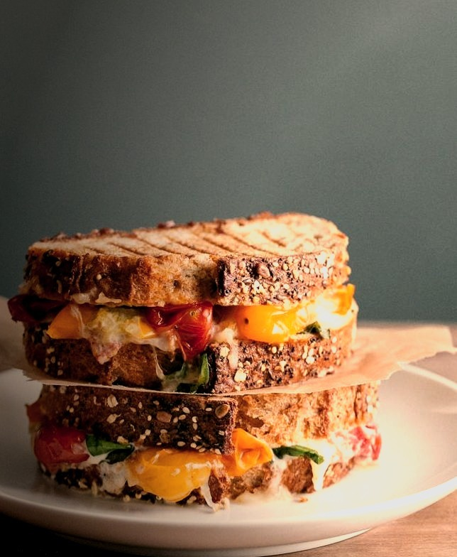 roasted tomato basil grilled cheese.