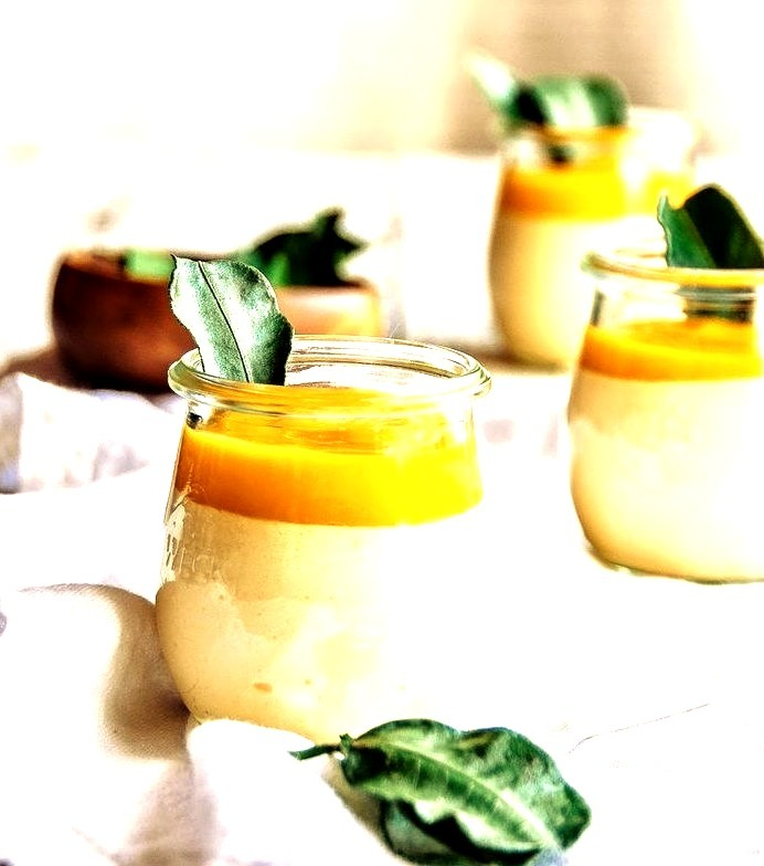 Lemongrass and Kaffir Lime Leaf Mousse with Mango Coulis Hint of Vanilla
