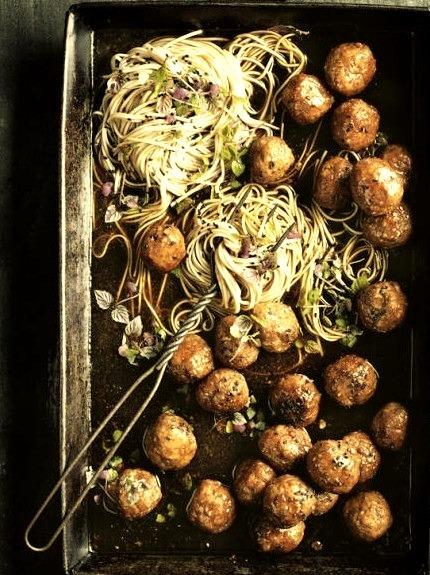 Sticky Sesame And Ginger Pork Meatballs With Soba NoodlesSource