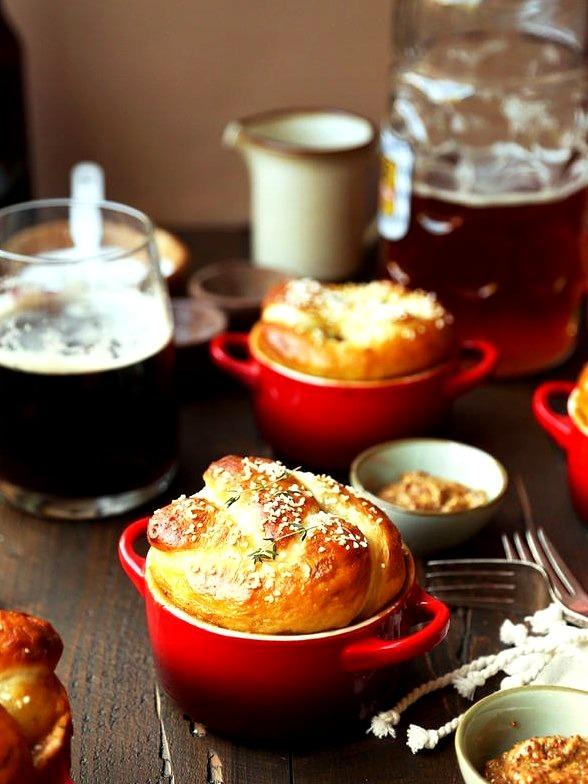 Bratwurst, Beer & Cheddar Pretzel Pot Pie
